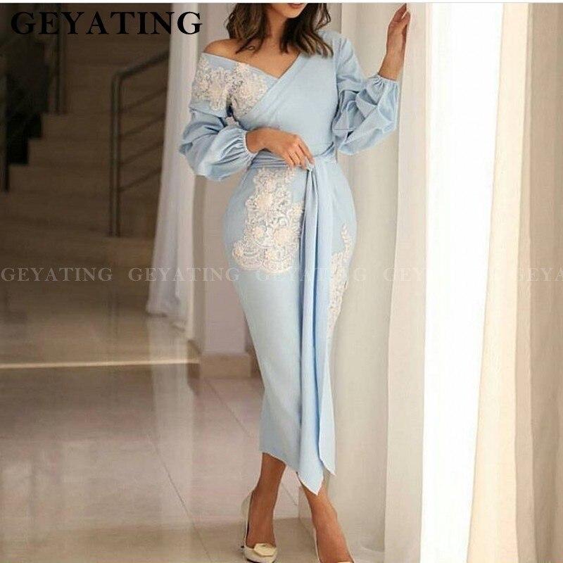 2020 élégant bleu ciel sirène robe de soirée à manches longues arabe dentelle Appliques cheville longueur femmes formelle soirée robes de soirée