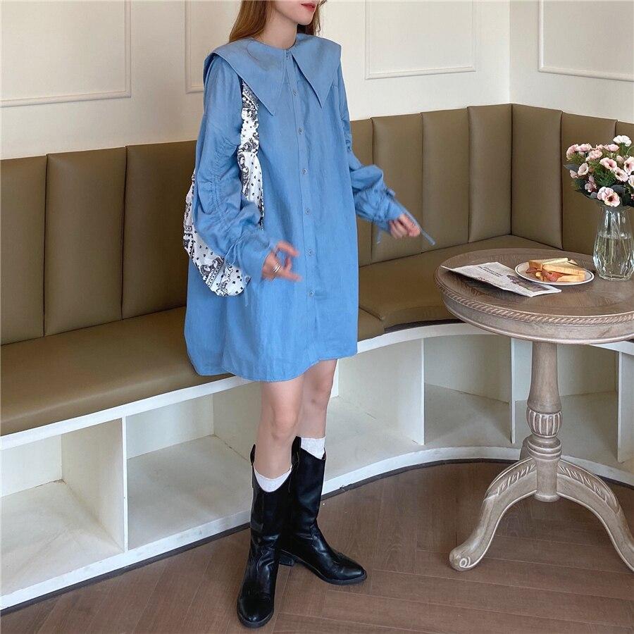 Hdf9d29ce2c6a46cb901e7e549a5bd59ct - Autumn Korean Big Lapel Collar Long Sleeves Drawstrings Solid Mini Dress