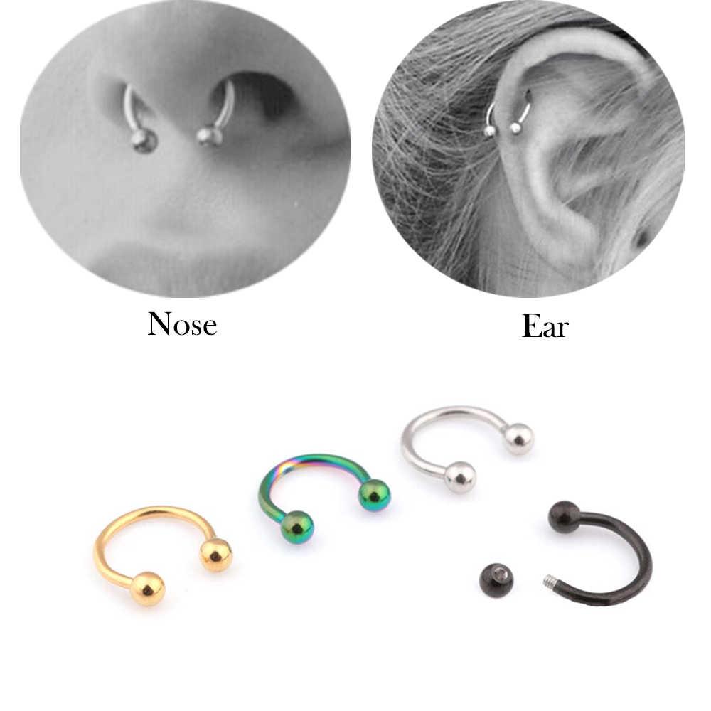 อินเทรนด์เหล็กผ่าตัด C รูปร่างต่างหูผู้หญิง Segment Tragus Fake Septum แหวนจมูกสตั๊ด Helix Piercing Body เครื่องประดับ