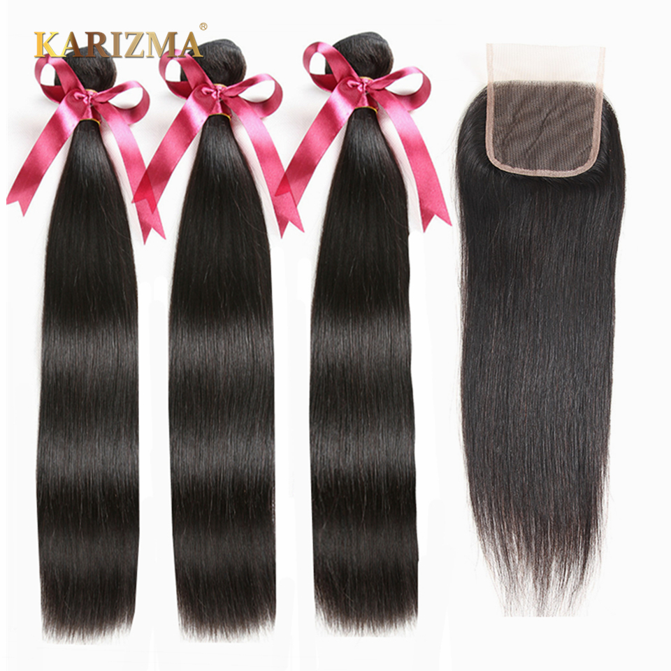 Karizma Straight Bundles With Closure Brazilian Hair Weave Bundles With Closure Human Hair Bundles With Closure Hair Extension