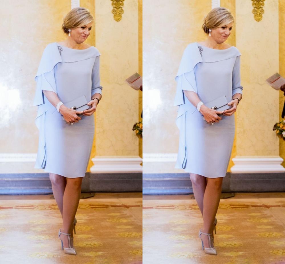 Knee Short Mother Of The Bride/Groom Dresses 2020 Capelet Simple Sheath Ruffles Wedding Party Gowns kurti vestidos de festa