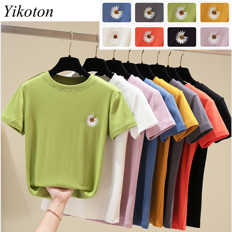 100% Cotton Womens T-Shirt Embroidery O Collar T Shirts Short Sleeve Clothes Women Slim Basic Tshirt Casual Top Tees For Female 6