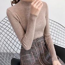2019 Autumn Winter Sweater Women Long Sleeve Pullover Women Casual  Slim Solid Basic Sweaters Turtleneck Korean Style Knit Tops* цена и фото