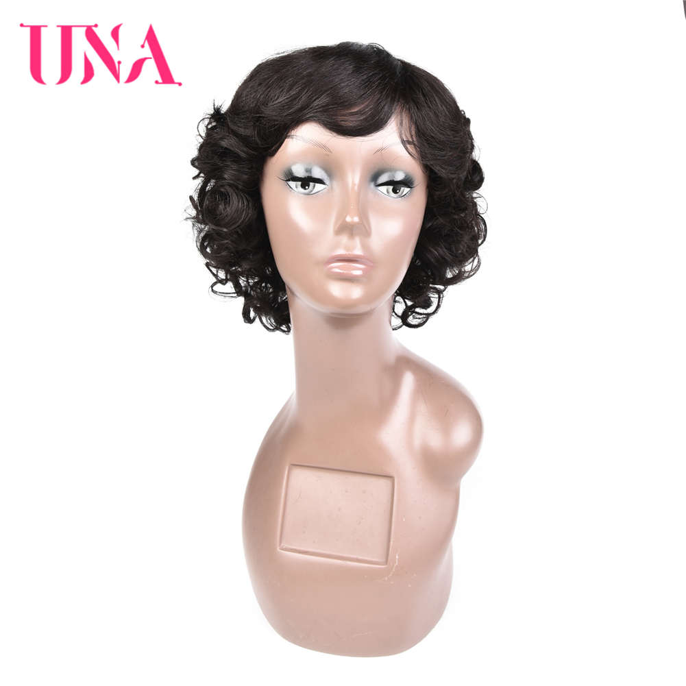 UNA Short Malaysia Human Hair Wigs For Women Sassy Curly Non-Remy Human Hair 120% Density 11 Colors 8 Inches