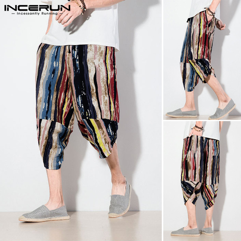 INCERUN 2020 Men Color Striped Print  Cropped Pants Men's Wide Crotch Harem Trousers Colorful  Loose Baggy Wide-legged Bloomers