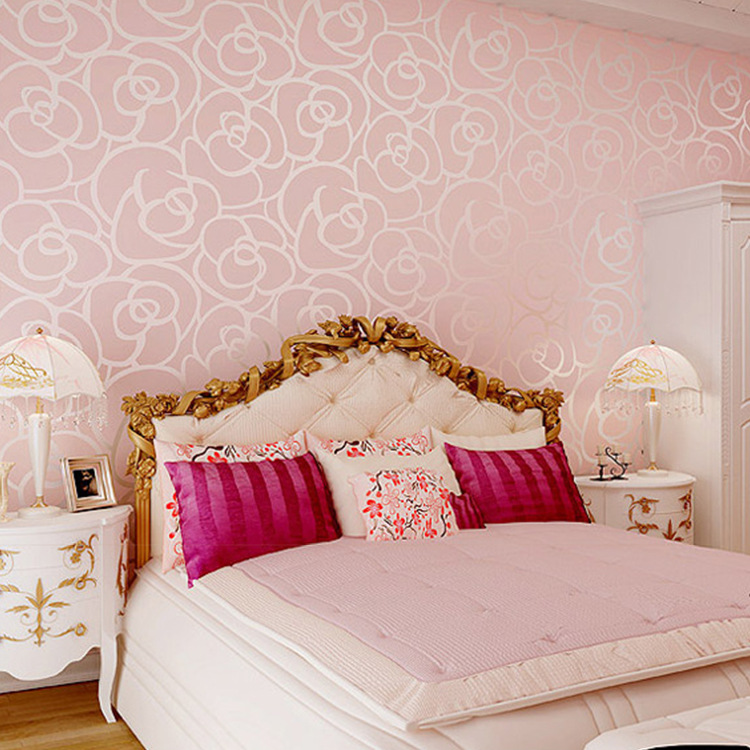 Warm Pink Nonwoven Fabric Rose Wallpaper Modern Minimalist 3D Flocked Bedroom Living Room Television Wallpaper