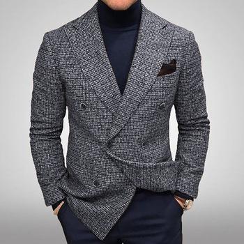 2020 nowa odzież męska Plaid business płaszcz na co dzień męska marynarka casualowa dojrzała odzież męska tanie i dobre opinie COTTON Poliester REGULAR CN (pochodzenie) Pojedyncze piersi Pełna