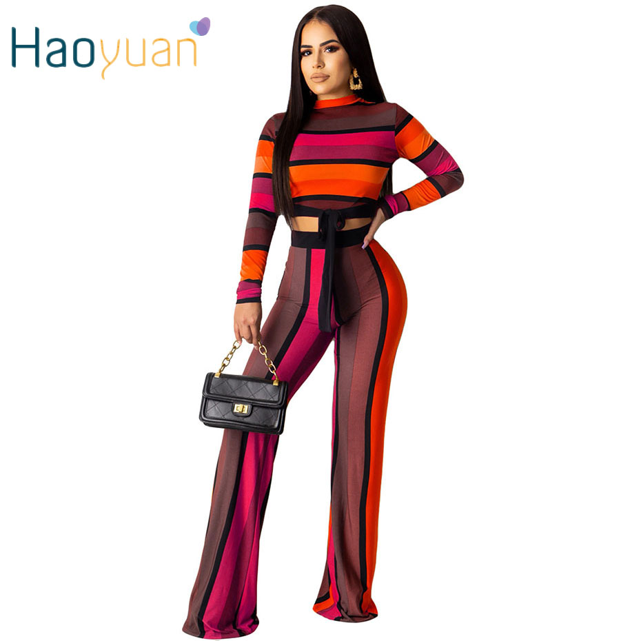HAOYUAN Striped 2 Piece Set Women Long Sleeve Crop Top+Pants Festival Clothing Fall Sexy Two Piece Club Outfits Matching Sets
