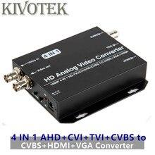 Ahd + cvi + tvi + cvbs para cvbs + hdmi conversor adaptador vga, saída de loop 1080p conector, v1.0/2.0, ntsc/pal para computador de tv frete grátis