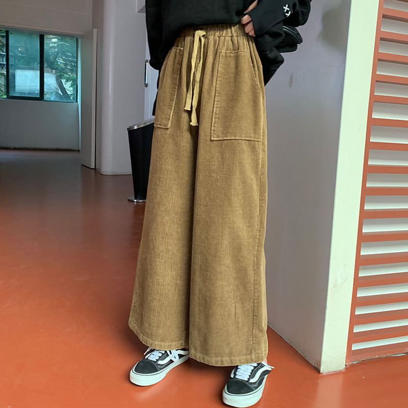 LANMREM 2020 New Spring Solid Color Lace-up Double Pocket Pants Women Streetwear Loose Corduroy Wide Leg Trousers Tide PD642