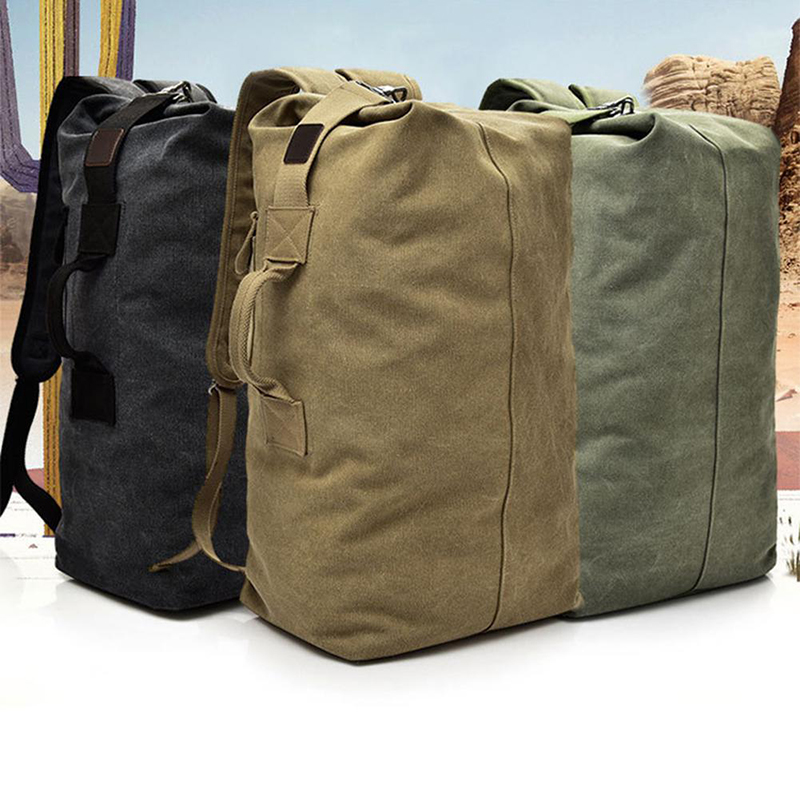 2019 Multi-purpose Military Canvas Backpack Solid Color Men Weekend Sports Travel Duffle Bags Outdoor Tactical Washable Rucksack
