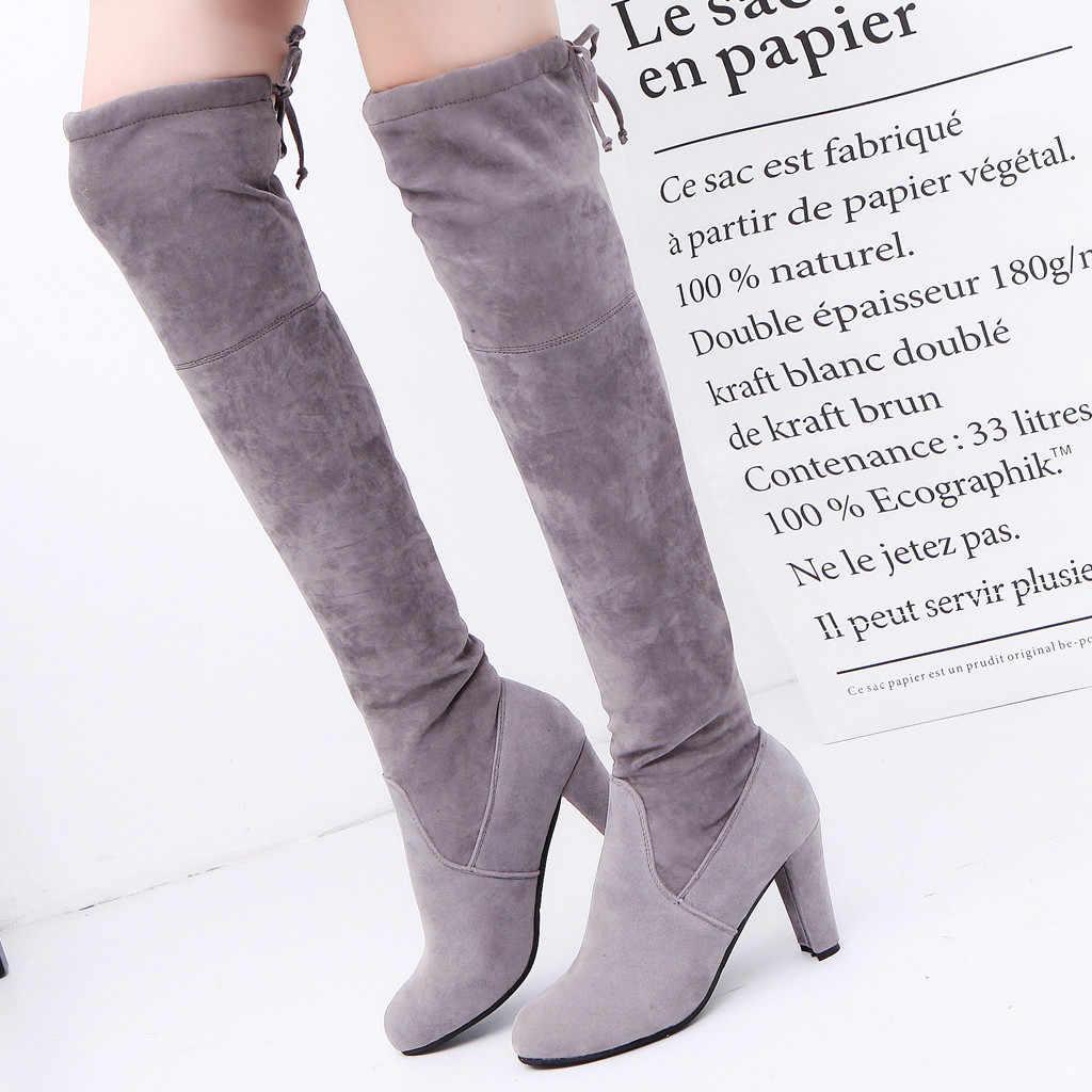 Frauen über das knie stiefel wildleder Freizeit Rom Feste oberschenkel hohe stiefel Große Größe Chunky Heels Lace Up Lange rohr Stiefel schoenen