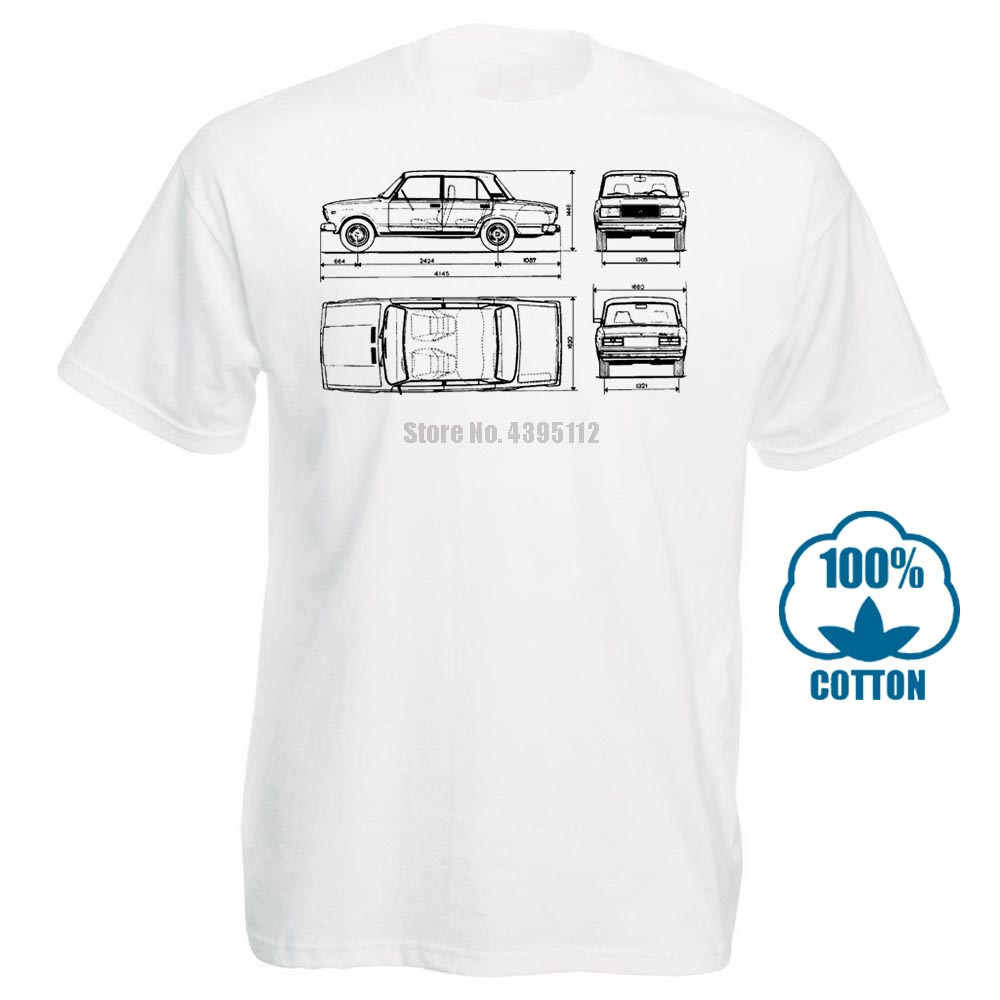 Male Best Selling T Shirt <font><b>Lada</b></font> <font><b>2107</b></font> 1982 Blueprint Mens T Shirt Classic Car Autovaz Russian Summer Tee Shirt 031390 image