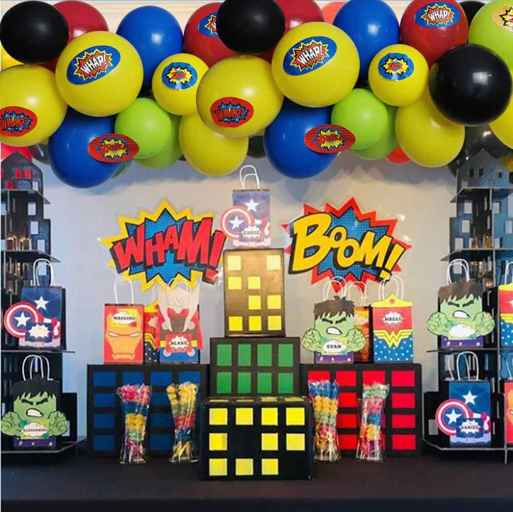 100Pack Superhero Balon Pesta Arch Garland Balon Lateks Kit 15 Pcs Stiker Superhero untuk Anak-anak Bday 1st 2nd 3rd 6th Dekorasi