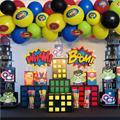 Набор из 100 надувных шаров в виде супергероев, комплект из 15 предметов, украшение для детей, 1-й, 2-й, 3-й, 6-й день