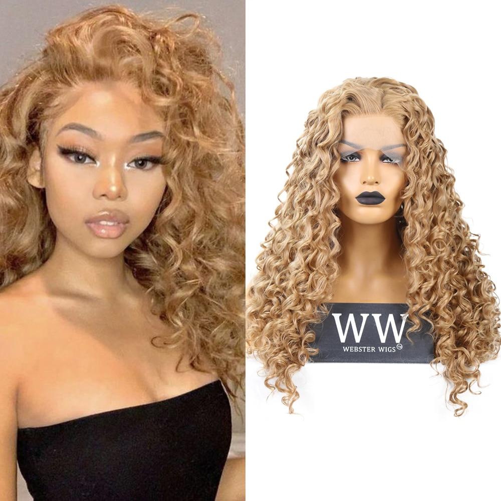 Quinlux perucas de ouro loira encaracolado peruca para todas as peles feminino diário usar fibra calor dianteira do laço substituição peruca cabelo sintético africano