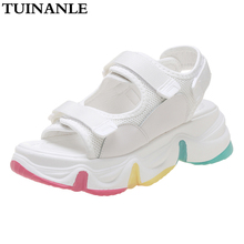 TUINANLE Chunky Sandals Women Rainbow Sole Summer White Pink 2020 Platform Sandal 5 Cm Wedge Heel Beach Shoes Sandalias Mujer