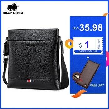 BISON DENIM Genuine Leather Men Bag Casual Business Crossbody male shoulder Bag Mens Messenger Bag Black bolso de hombre N2821