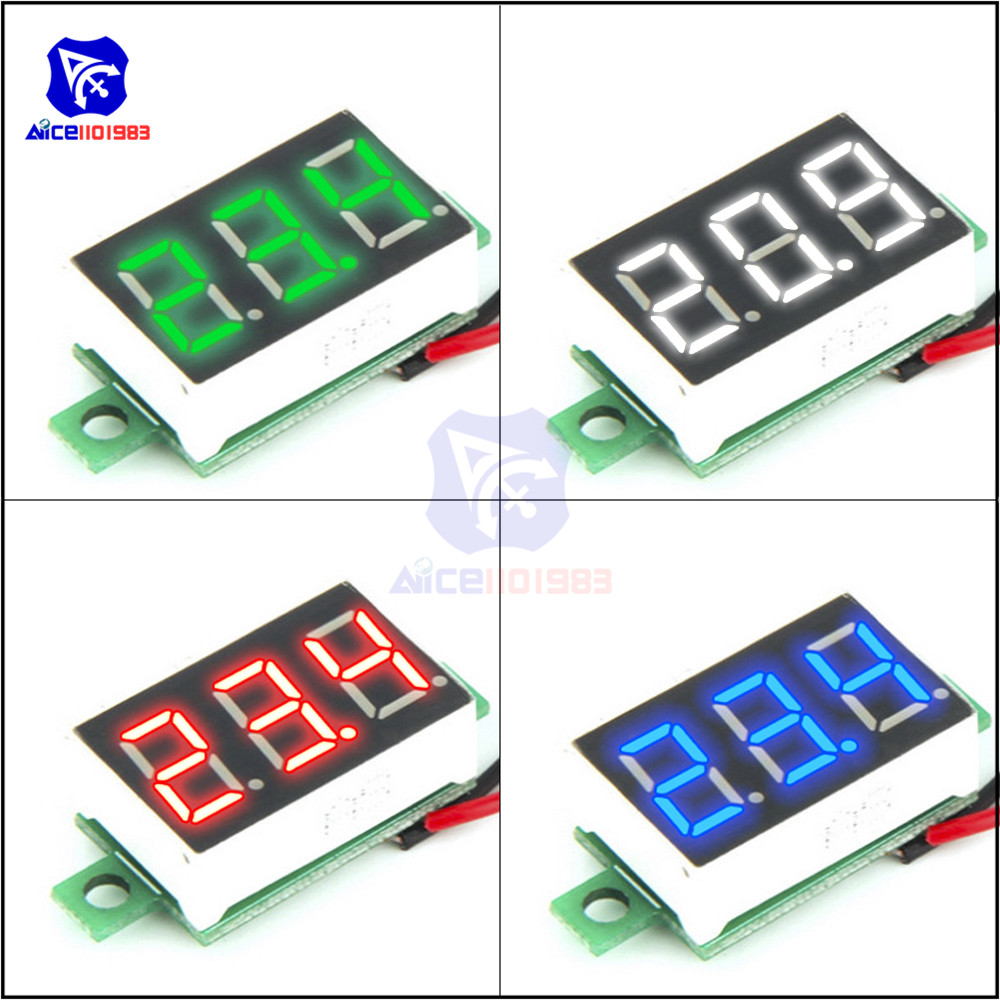 High Precision 0.36 2-Wire Mini Voltmeter DC 4.7 -32V Red/Blue/Green/Yellow 3 Bit LED Digital Tube Panel Voltage Meter