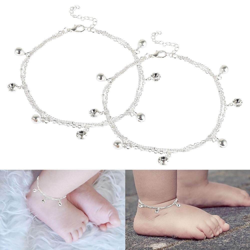 Baby Ankle Bracelet Birthday Bell And White Stone Charm Foot Bracelet Anklets Metal Leg Bracelet For Baby Bracelet Gift
