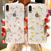 Hot Echt Dry Flower Glitter Klar telefon fall für apple iphone 7 8 Plus X XS XR MAX 11 Pro 12Pro Max Epoxy Star Transparent abdeckung