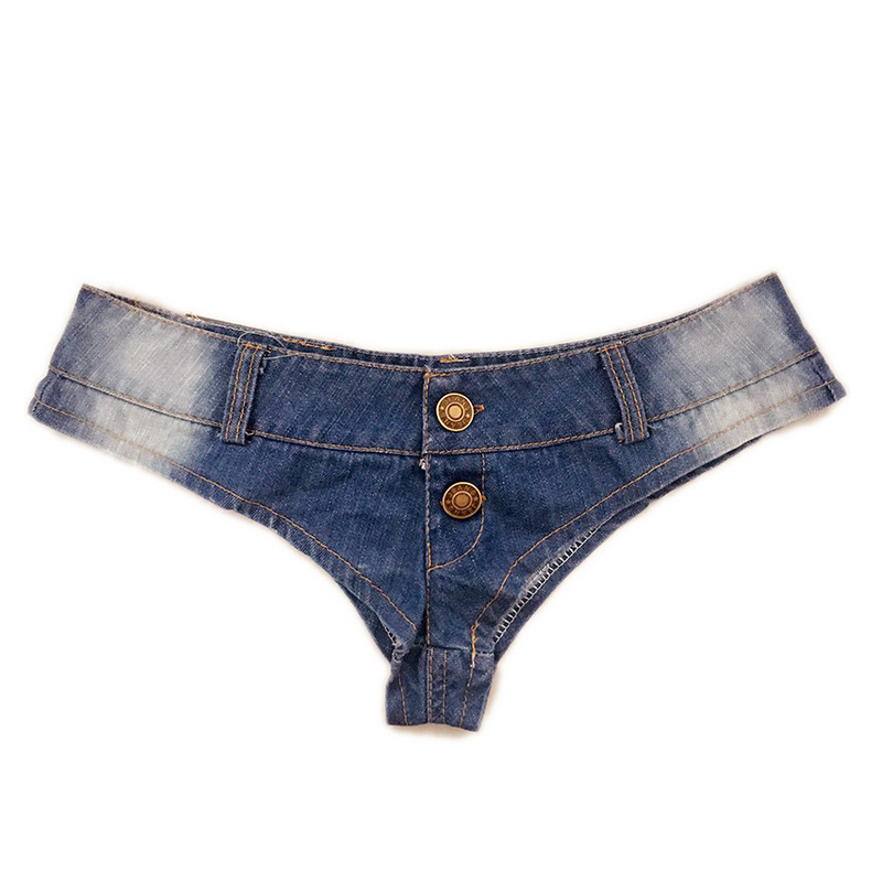 High Cut Sexy Jeans Denim Booty Shorts Double Button Low Rise Waist Micro Mini Short Erotic Beach Club Wear TY66