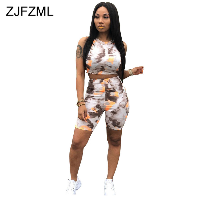 Colorful Tie Dye 2 Piece Matching Sets Summer Clothes For Women O Neck Sleeveless Crop Top  And Biker Shorts Two Piece Tracksuit