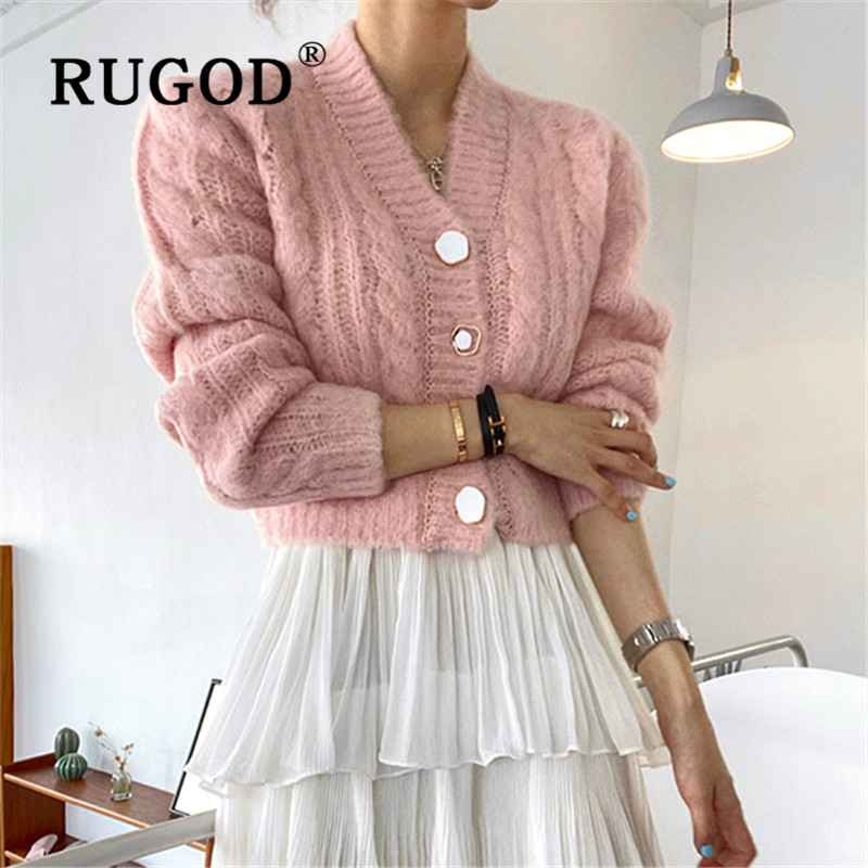 RUGOD Knit Cardigan V-neck Solid Crop Sweater Womens Sweaters 2019 Winter Tops For Women Knitwear Fashion Twist Pattern Casual