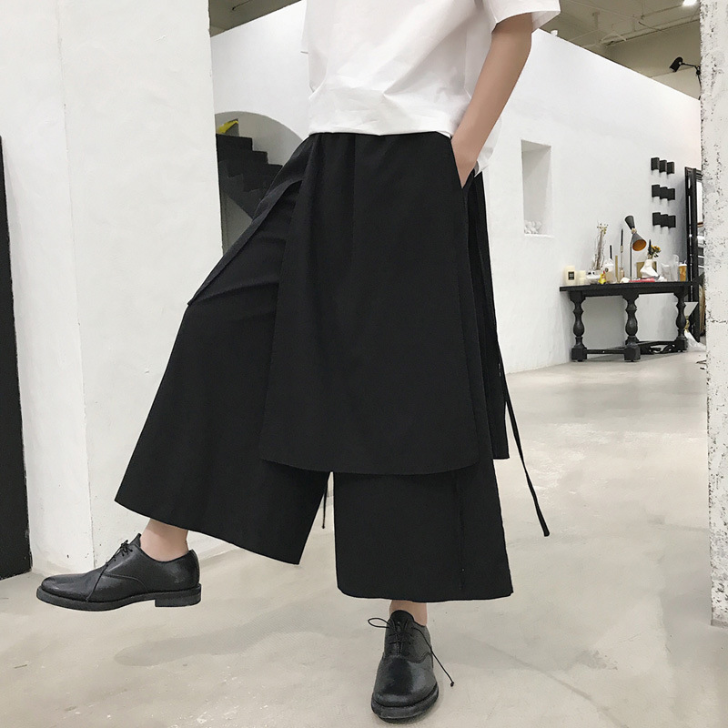 Summer Dark Of Men Casual Pants Loose Hair Stylist Loose Pants Culottes Fashion Man Harem Pants Cotton Linen Capri Pants