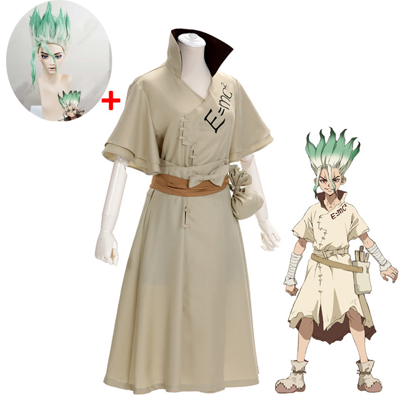 Anime Dr. Stone Senku Ishigami Cosplay Costume Senku Adult White Male Full Set Halloween Christmas Carnival Party Costumes Wig