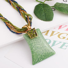 цена на ELIfashion Retro Bohemia Necklace Curve Square Crystal Bohemia Style Pendant Multilayer Beads Chain Necklace for Women 6 Colors