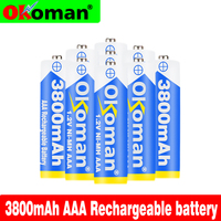 12Pcs New Brand AAA Battery 3800mah 1.2v Ni-MH AAA rechargeable battery for Remote Control Toy light Batery free shipping