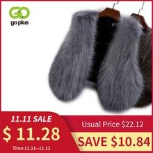 GOPLUS 2020 New Winter Womens Faux Fox Fur Vest Long Furry Shaggy Woman Fake Fur Vest Fashion Plus Size Fur Vests High Quality