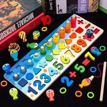 Montessori de madeira pré-escolar brinquedos educativos crianças ocupado placa matemática pesca contagem figuras geométricas desenvolvimento placa brinquedo