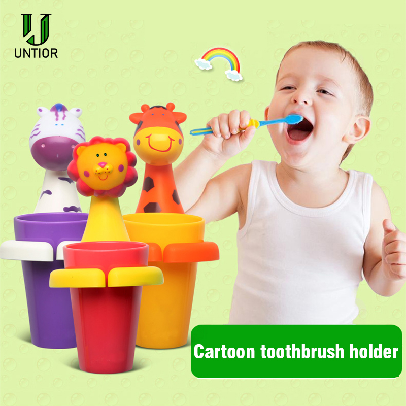 UNTIOR Cute Cartoon Animal Toothbrush Holder Gargle Cup Set Wall Mounted Kids Tooth Brush Holder Cartoon Bathroom Accessories image