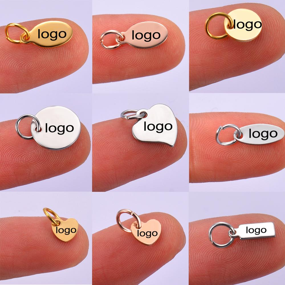 50pcs Silver,Gold Tone Stainless Steel Mini Disc Custom Logo Stamping Tags Necklace Brand Tag For Logos Not Turn Off Color
