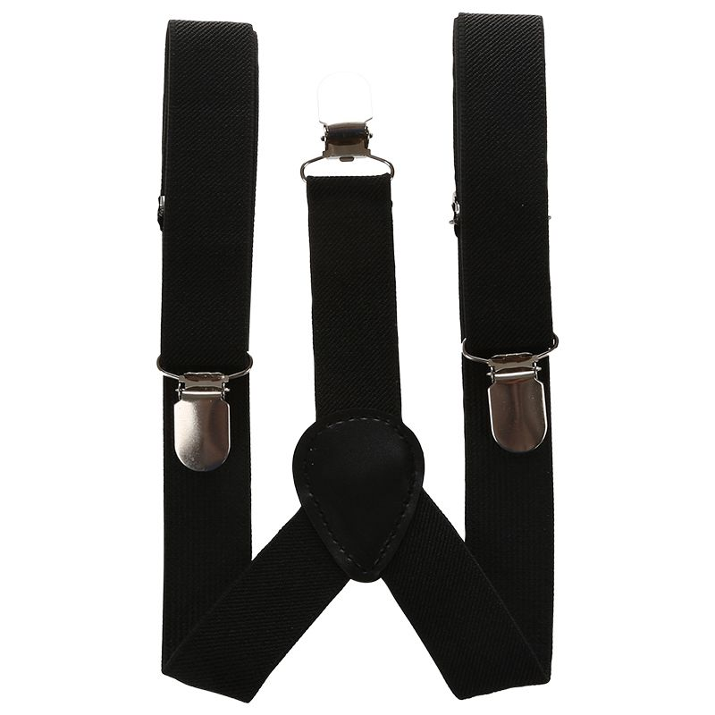 Children Kids Boys Girls Clip-on Suspenders Elastic Adjustable Braces With Cute Bow Tie Black