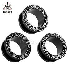 KUBOOZ 2PCS Ear Stretcher Piercing Tunnels Plugs Gauges Stainless Steel Earring Fashion Body Jewelry Gift 6mm to 25mm Women Men