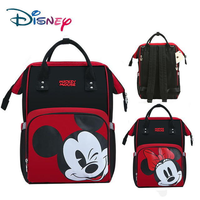Disney Mummy Diaper Bags Women Multi-Function Nappy Baby USB Bottle Insulation Maternity Bag Large Capacity Backpack Red New Bags Kids