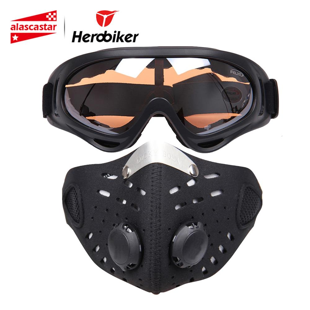 HEROBIKER Motorcycle Mask Face Shield Balaclava Ski Glasses Outdoor Biker Bicycle Cycling Face Mask Motorcycle+Colorful Goggle