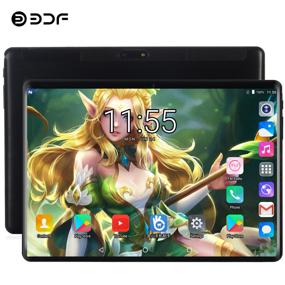 BDF New 10 Inch Tablet Android 9.0 10/Ten Core 8GB RAM 128GB ROM 3G/4G FDD LTE WiFi Bluetooth Phone Call Glass Screen Tablet Pc
