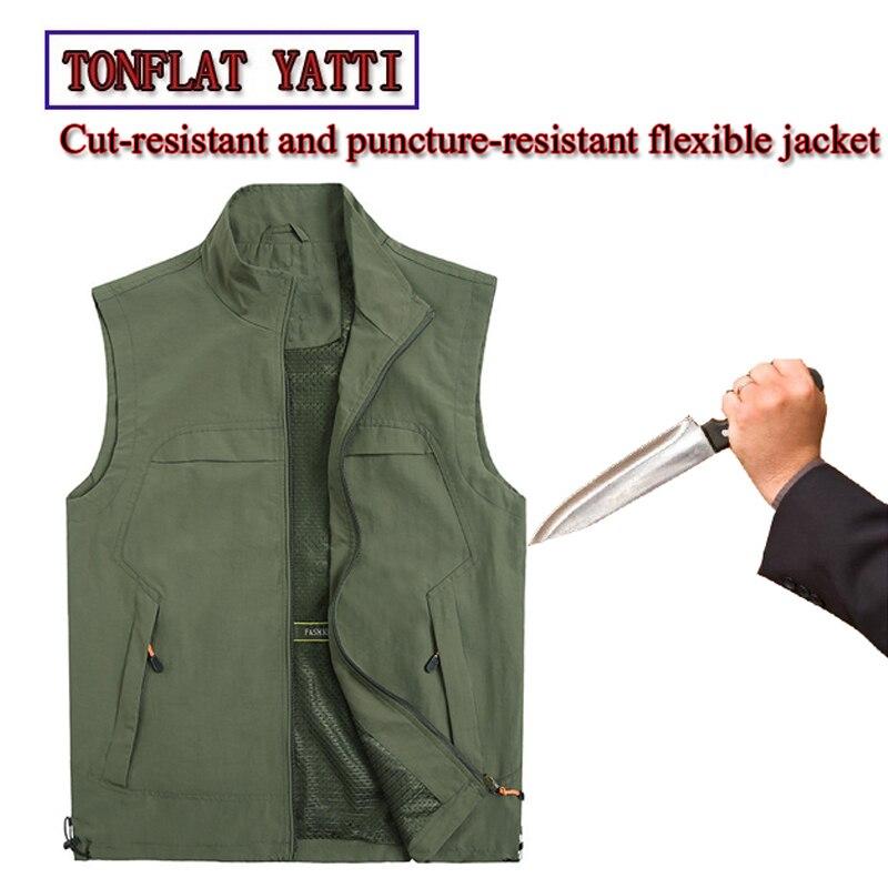 New Self-Defense Stab-Resistant Cut-Proof Denim Vest soft Stealth Swat Fbi Hacking Military Tacticsde fensa extensible Clothing