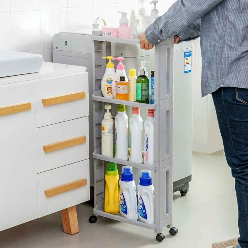 Multi-Function Gap Shelves Mobile Storage Rack Bathroom Storage Rack Kitchen Home Decoration Accessories Wall storage rack