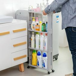 Multi-Function Gap Shelves Mobile Storage Rack Bathroom Storage Rack Kitchen Narrow Cabinet Washing Machine Thelf Floor-standing