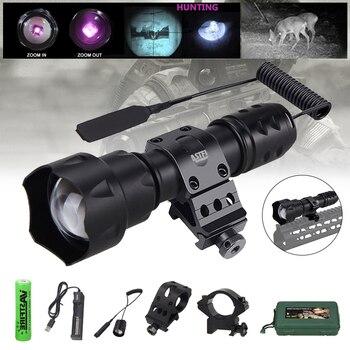 200 yardas T20 IR linterna 940nm noche visión Zoomable antorcha LED al aire libre caza táctico Linterna + 18650 + cargador + soporte + + caja
