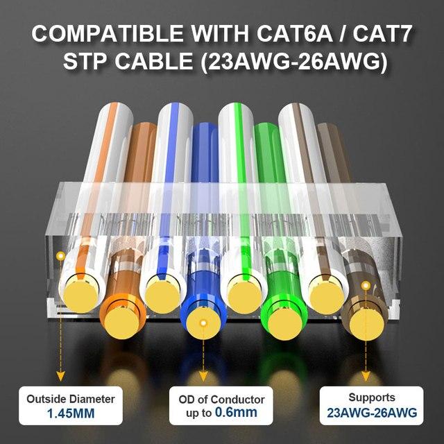 ZoeRax RJ45 Cat8 Cat7 & Cat6A Pass Through connectors 8P8C 50UM Gold Plated Shielded FTP/STP | RJ45 Network Modular Plug - 1.5mm 5