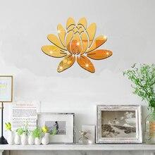 Lotus Mirror Wall Stickers Living Room Background Waterproof Sticker Self-adhesive Acrylic