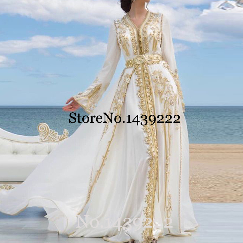 White Chiffon Moroccan Kaftan Evening Dresses Golden Lace Appliques Mother Dress Arabic Muslim Special Occasion Custom Made