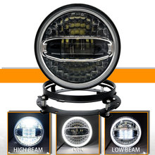7 Inch Halo LED Headlight with Halo DRL High Low Beam for  Street Glide Electra Glide Ultra Classic Road King Her