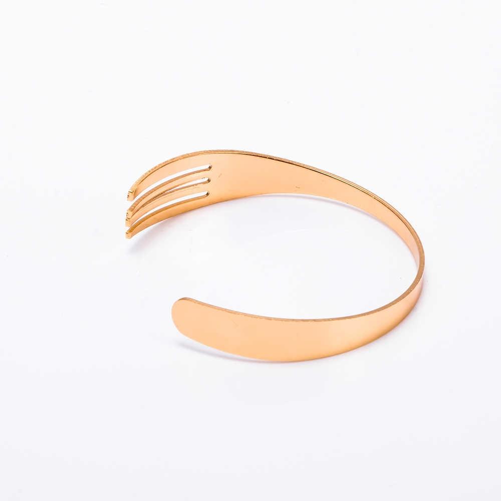 1 PC Terbuka Bangle Perhiasan Unisex Gelang Kreatif 3 Warna Garpu Manset Gelang Bangles Desain Fashion untuk Wanita Hadiah Pesona